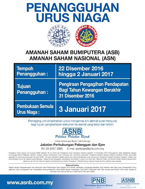 Tarikh Penangguhan Urus Niaga Amanah Saham Bumiputera (ASB) & Amanah Saham Nasional (ASN)