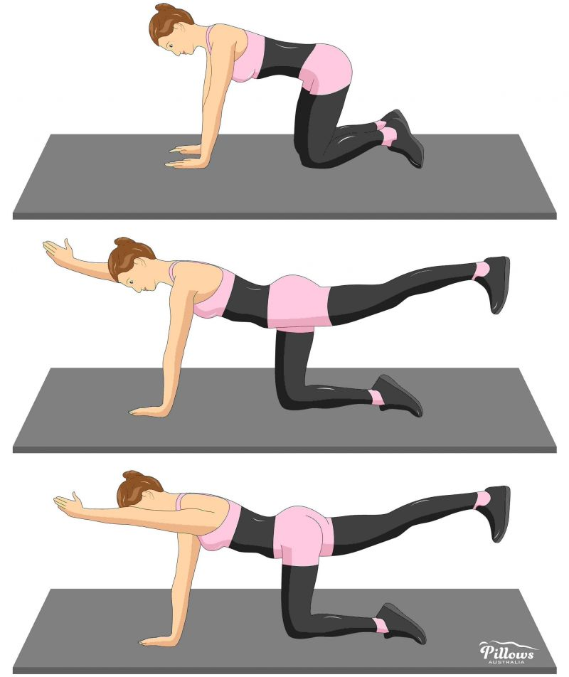 18 Easy Stretches In 18 Minutes To Help Reduce Back Pain - QUADRUPLED ARM/LEG RAISE