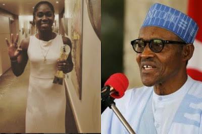 Asisat Oshoala and Muhammadu Buhari