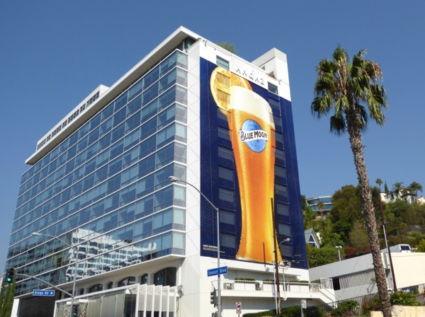 Giant Blue Moon beer billboard Sunset Strip