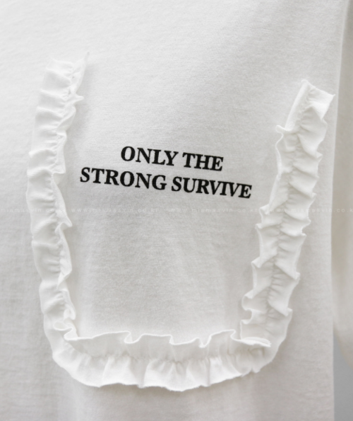 Frill Trim Lettering Print T-Shirt