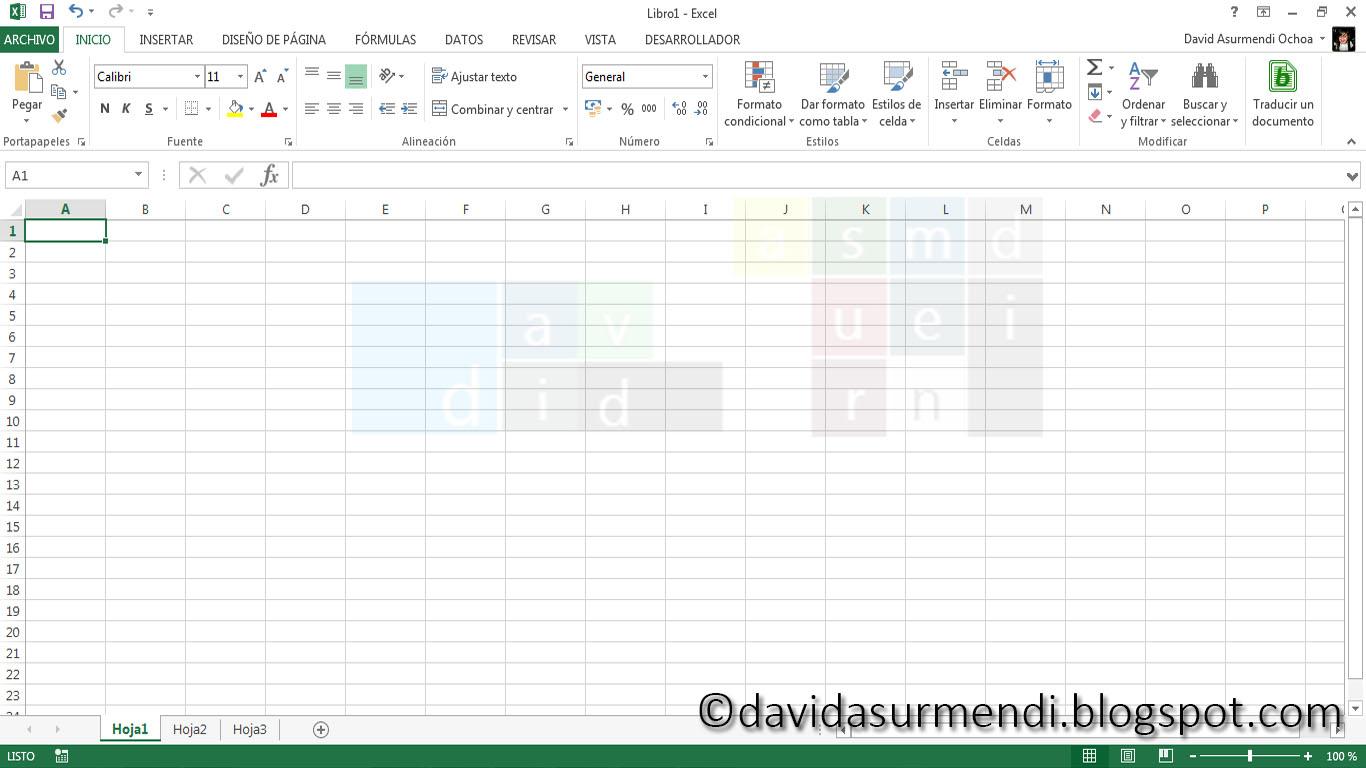 La Pantalla De Inicio De Excel