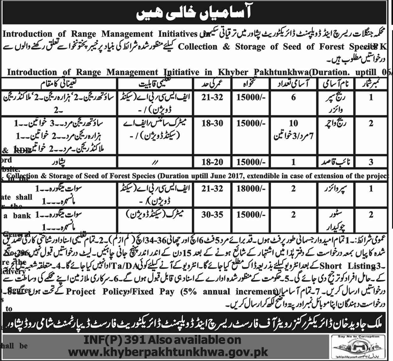 Jobs in Forest Department Khyber Pakhtunkhwa
