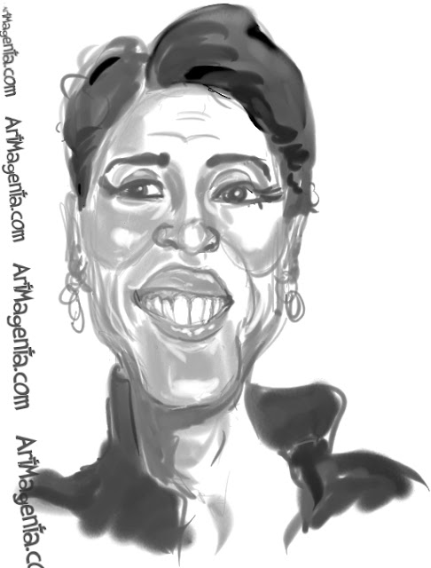 Robin Roberts caricature cartoon. Portrait drawing by caricaturist Artmagenta