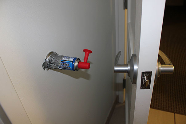 Install an airhorn as a door wall protector