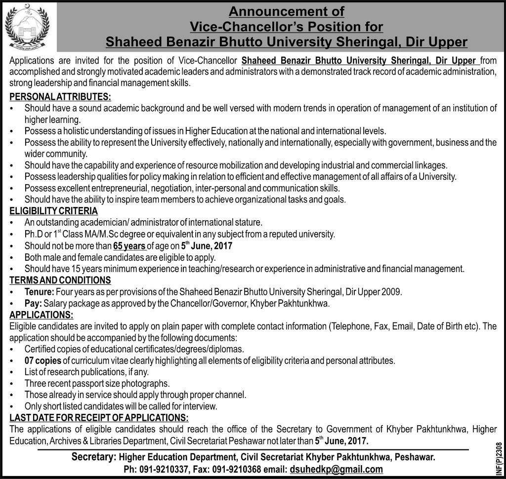 Shaheed Benazir Bhutto University Peshawar jobs 14 may 2017
