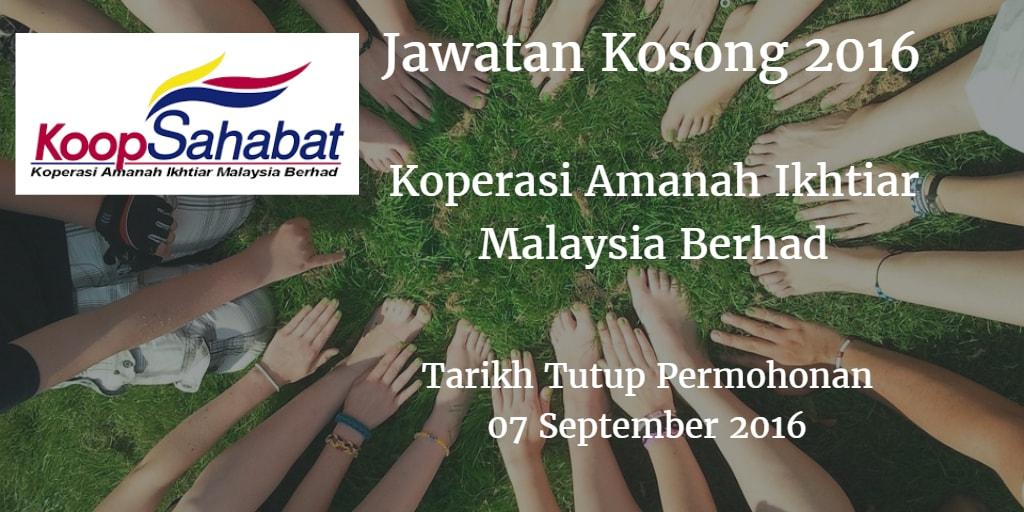 Jawatan Kosong Koperasi Amanah Ikhtiar Malaysia Berhad 07 September 2016