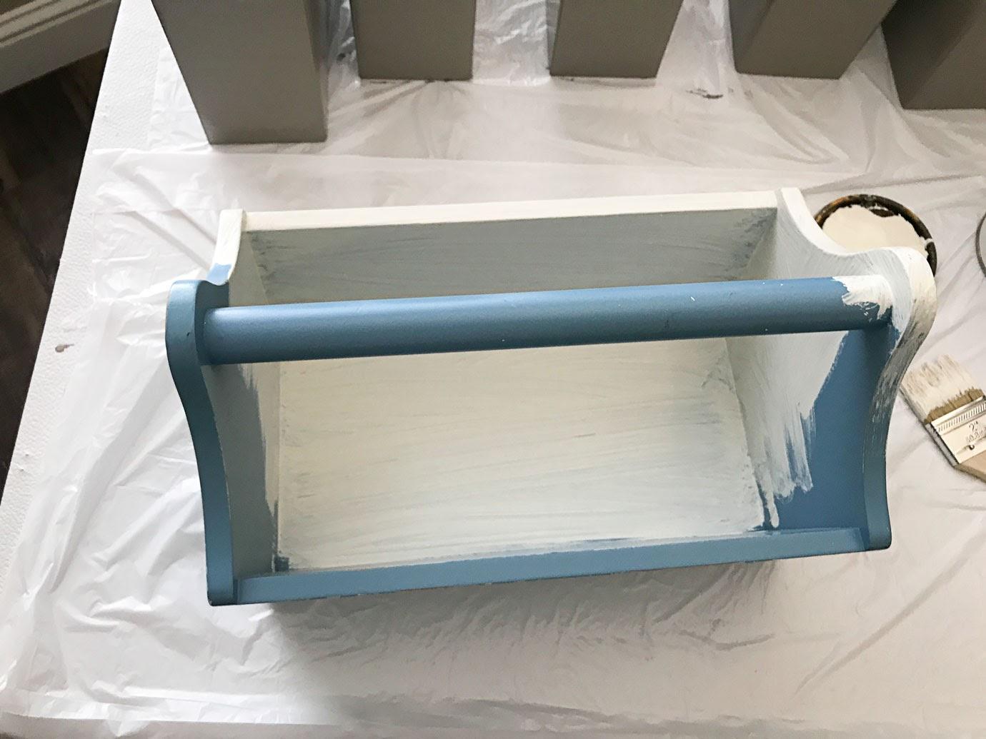 Vintage Blue Farmhouse Tool Box Makeover