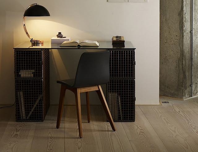 industrial chic desk and chair furniture with lighting