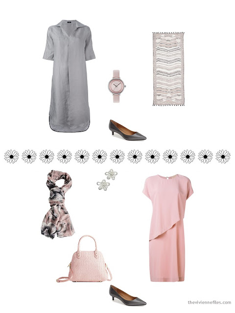 2 dressy outtfits from a 16-piece travel capsule wardrobe in black, white, pink and grey