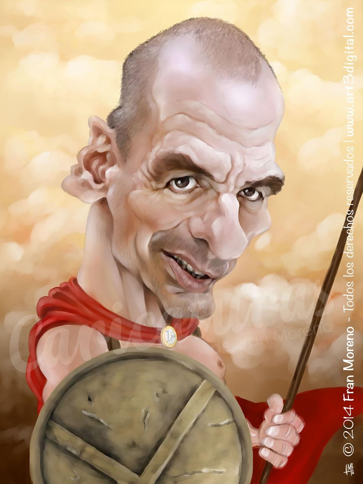 """Caricatura de """"Yanis Varoufakis"""" por Fran Moreno"""