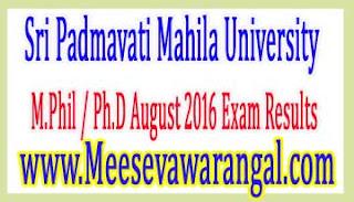 Sri Padmavati Mahila University M.Phil / Ph.D August 2016 Exam Results