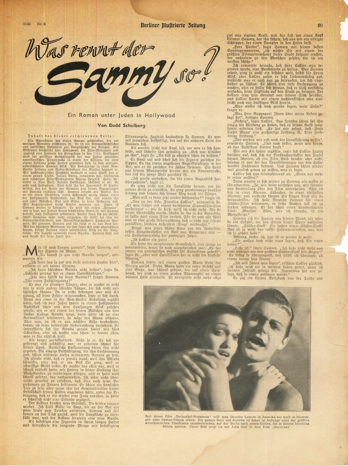 "A page from a German newspaper with the heading ""Was rent der Sammy so?"""
