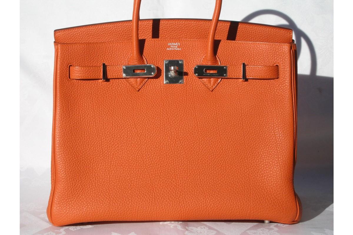 GLAMOUR & PEARLS: Orange Hermés Birkin Bag