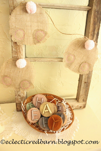 Eclectic Red Barn: Easter Wooden Letters with Bunny garland