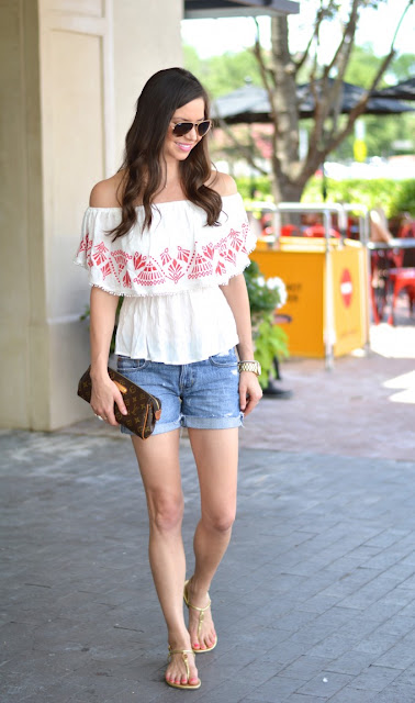 off shoulder top with denim shorts