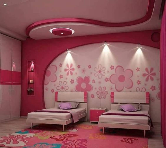 Ceiling Design For Bedroom For Girls Yellow And Black Bedroom Decor Bedroom Ideas White And Grey Leopard Print Bedroom Decorating Ideas: صور ديكورات غرف نوم بنات 2018/ باللون الوردي الفاتح