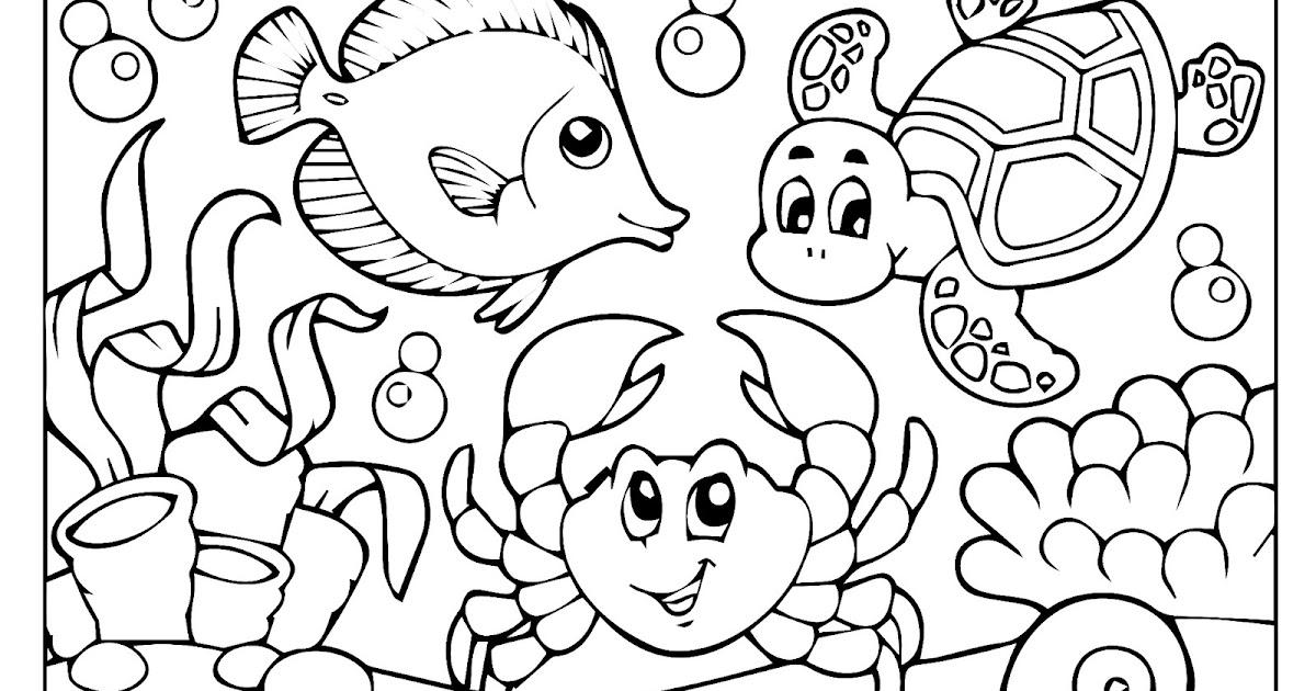 Desenhos De Animais Para Colorir Colorir: Desenho De Animais No Fundo Do Mar Para Colorir
