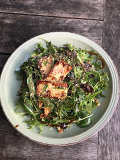 Grilled haloumi and beetroot salad  with toasted walnuts  and pomegranate dressing