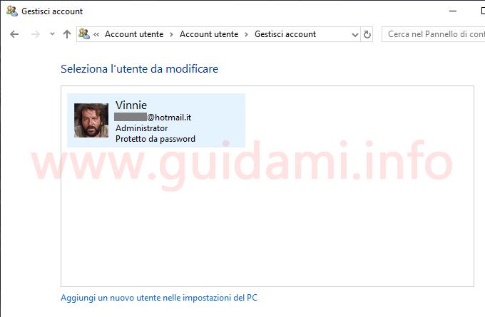 Pannello di controllo gestione account utente Windows 10