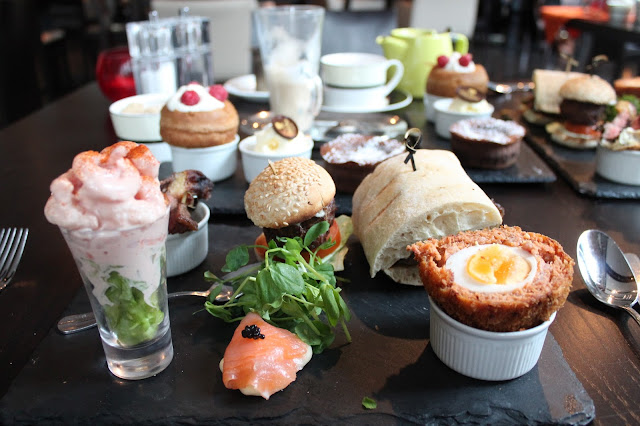gentleman's afternoon tea with beef scotch egg and yorkshire pudding