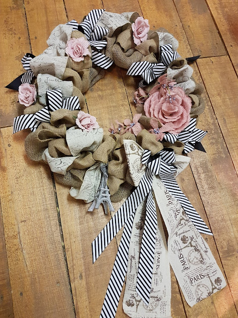 pink and black burlap wreath, The Camellia