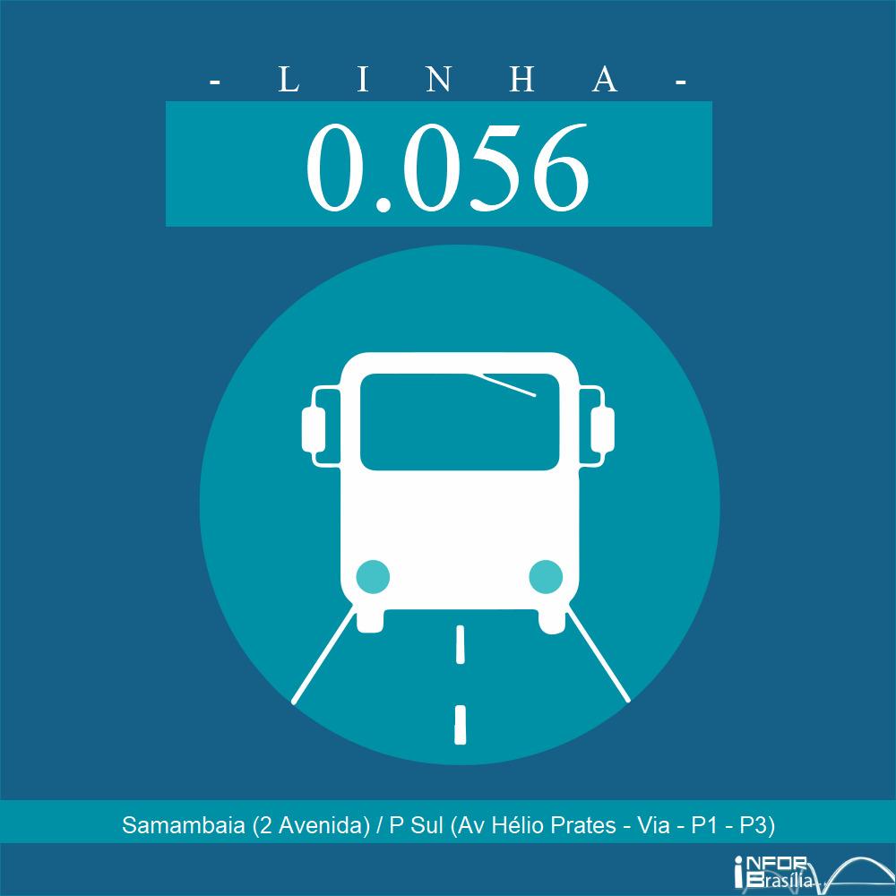 Horário de ônibus e itinerário 0.056 - Samambaia (2 Avenida) / P Sul (Av Hélio Prates - Via - P1 - P3)