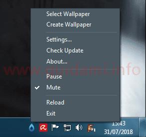 RainWallpaper menu contestuale icona area di notifica Windows