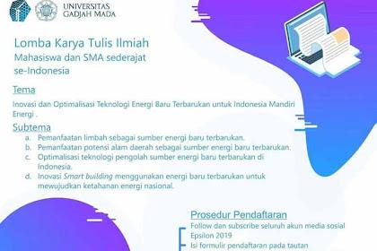 Lomba Karya Tulis Ilmiah Mahasiswa & SMA Sederajat Nasional 2019 UGM