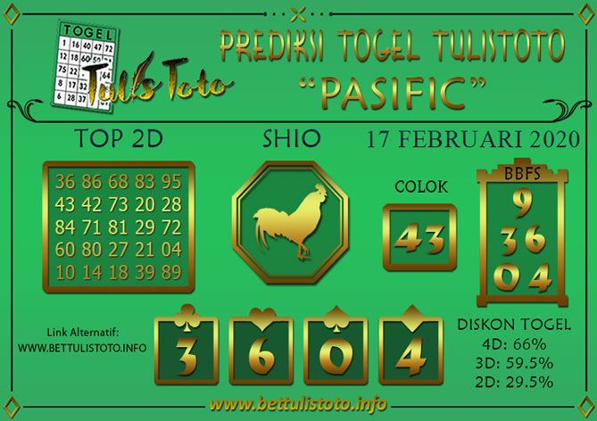 Prediksi Togel PASIFIC TULISTOTO 17 FEBRUARI 2020