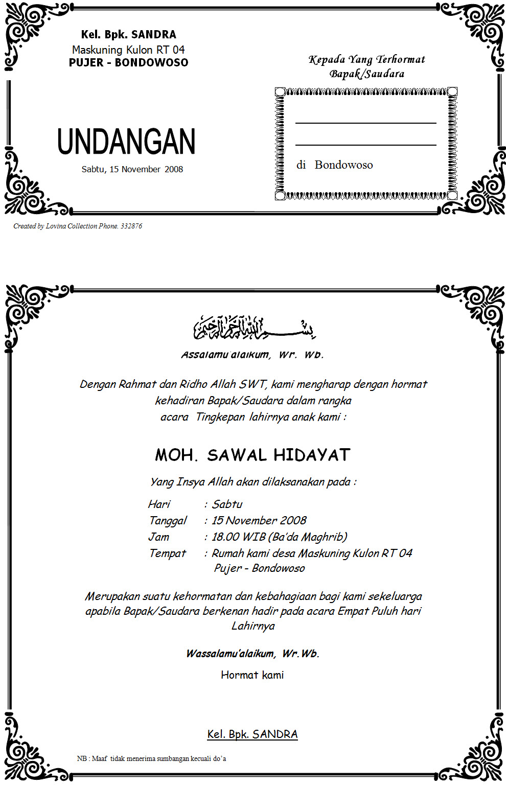 Contoh Surat Undangan Syukuran Keberangkatan Haji Inspirational