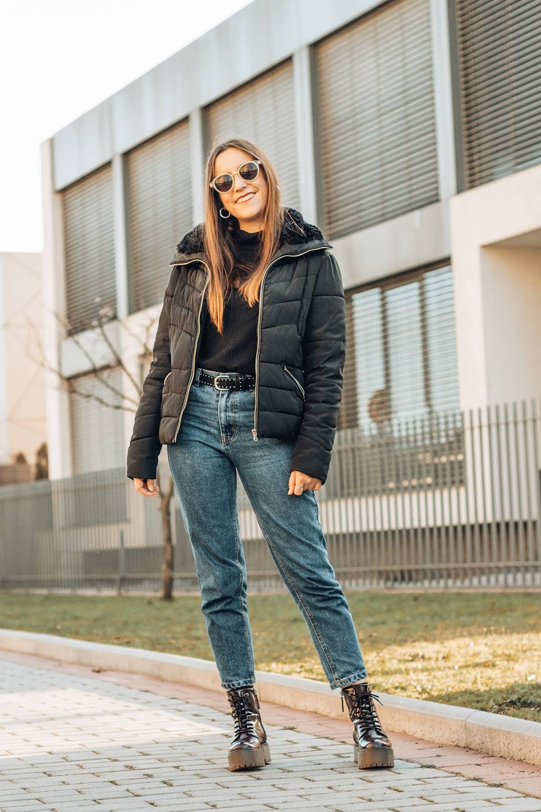 basic outfit mom jeans chunky boots