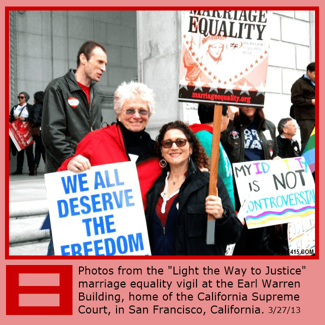 "The ""Light the Way to Justice"" gay marriage equality vigil in San Francisco, California 3/27/2013 photo by jiveinthe415.com."
