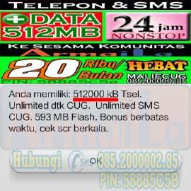 Paket Data CUG Telkomsel 512 MB 20 Ribu Per Bulan