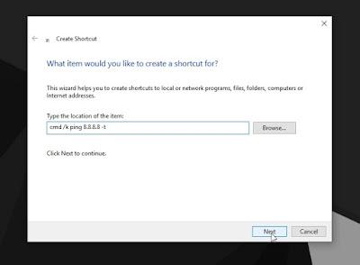 Cara Membuat Shortcut Ping pada Command Prompt(CMD) di Desktop