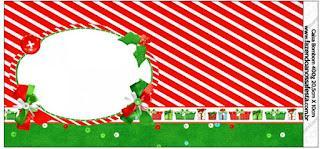 Etiquetas para Imprimir Gratis de Navidad a Rayas.