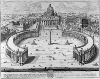 An engraving by Giovanni Battista Falda of Gian Lorenzo Bernini's tour de force, the Piazza San Pietro in Rome