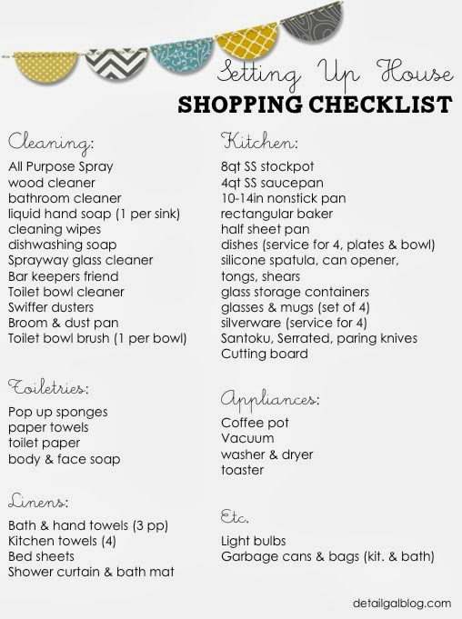 setting up house checklist kitchen cleaning linens. Black Bedroom Furniture Sets. Home Design Ideas