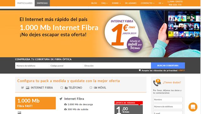 Adamo ofrece fibra por 1 euro hasta fin de año