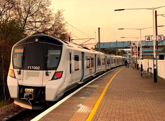 Class 717 departs Brookmans Park station 15 April 2019  Screen grab from video courtesy of Simon Goldsworthy