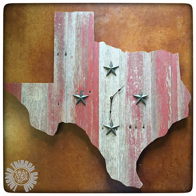 Tutorial on how to make a Texas-Shaped Barn Wood Clock by Thistle Thicket Studio. www.thistlethicketstudio.com