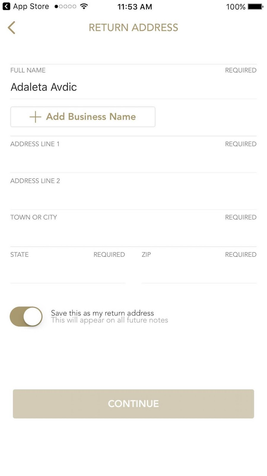 This is a screenshot of the third step to creating your own handwritten note, which includes entering your own address.