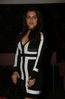 Ananya Soni in a Deep neck white blackl Dress at Shamanthakamani pre release function ~  Exclusive 068.JPG