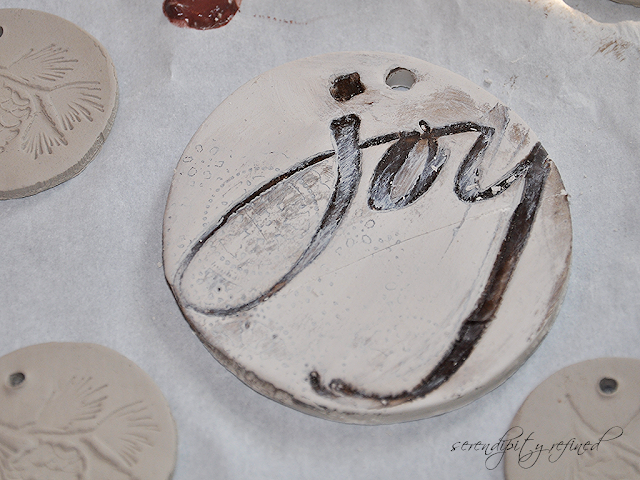 Hand Stamped Hand Painted Natural Clay Holiday Tags Christmas by Serendipity Refined