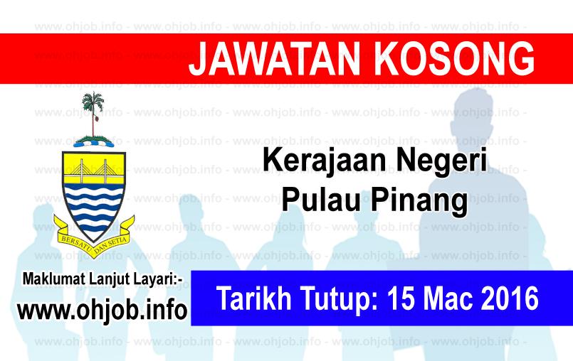 Jawatan Kerja Kosong Kerajaan Negeri Pulau Pinang logo www.ohjob.info mac 2016