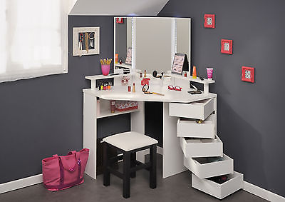 corner style white portable makeup table, portable vanity dressing table set