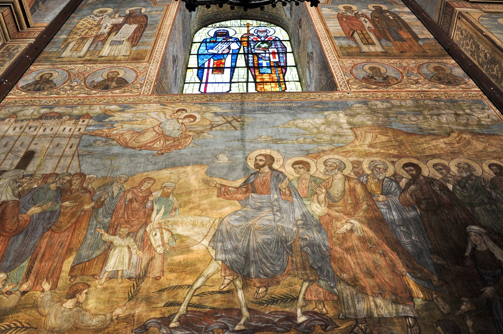 Close-up of the frescoed walls, Dormition of the Mother of God Cathedral, Varna