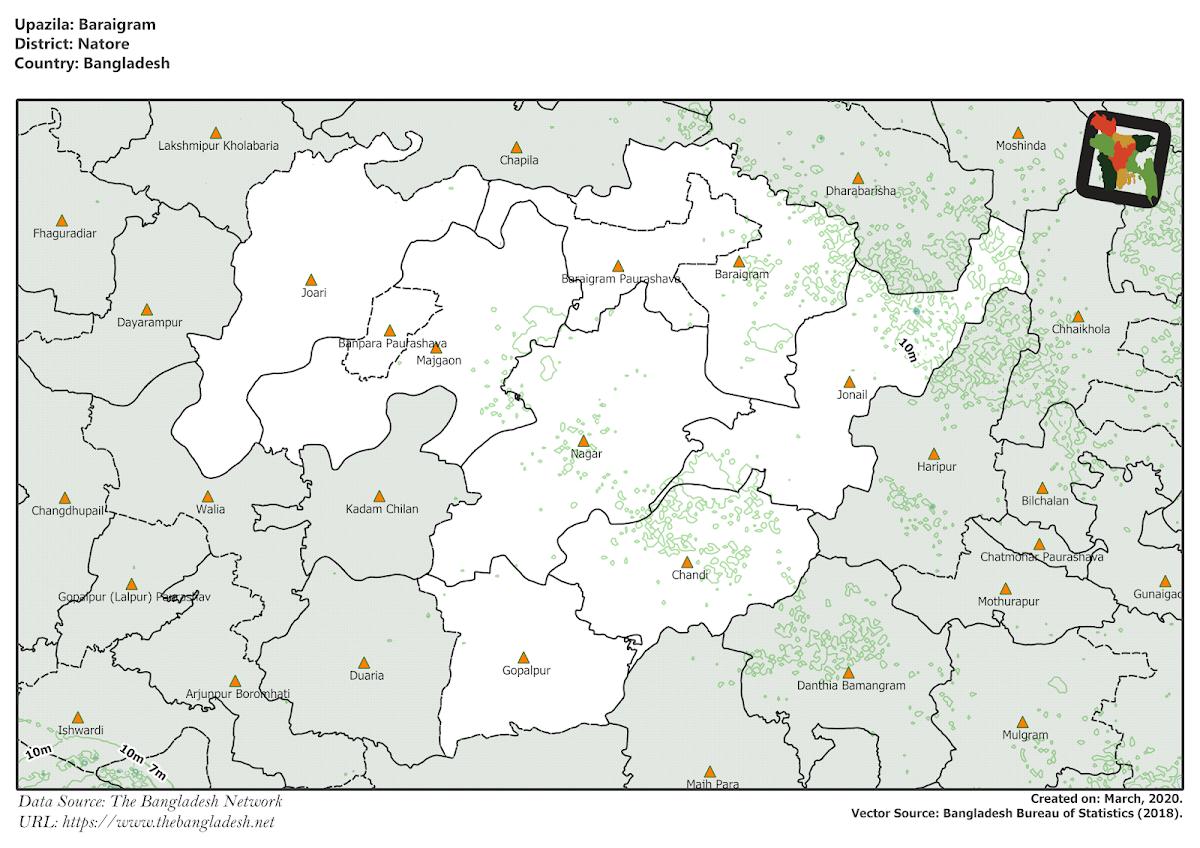 Baraigram Upazila Elevation Map Natore District Bangladesh