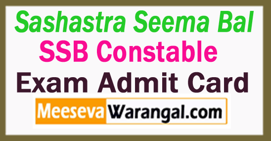 Sashastra Seema Bal SSB Admit Card 2017