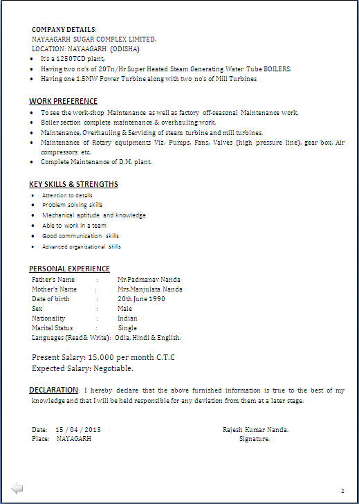 RESUME SAMPLE FOR MBA & B Tech In Mechanical Engineering